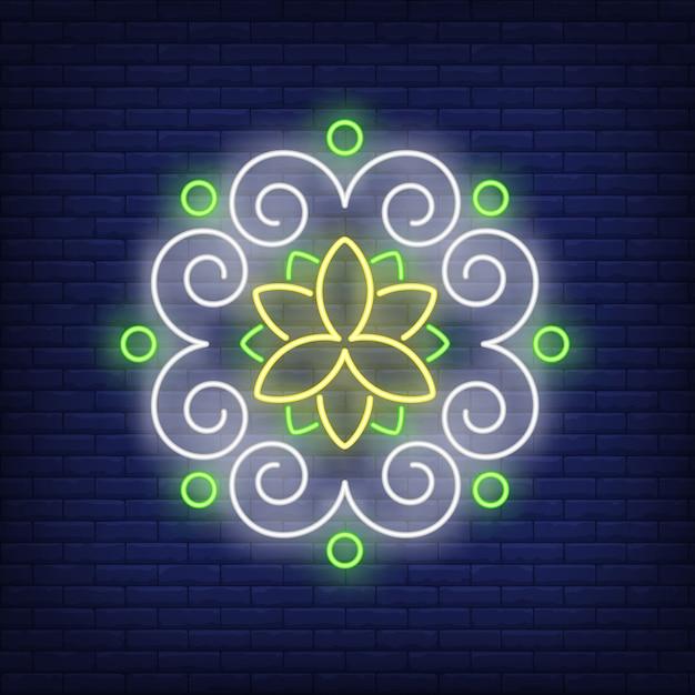 Insegna al neon della mandala del modello floreale rotondo Vettore gratuito