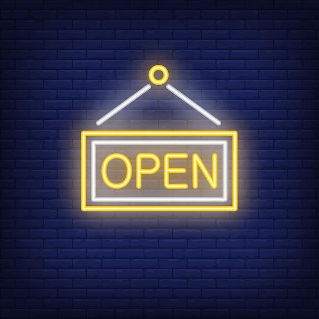 Insegna al neon della porta aperta Vettore gratuito