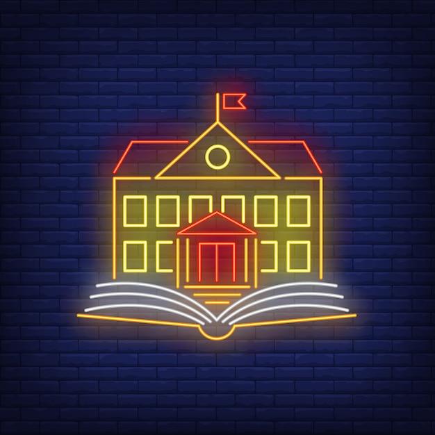 Insegna al neon della scuola Vettore gratuito