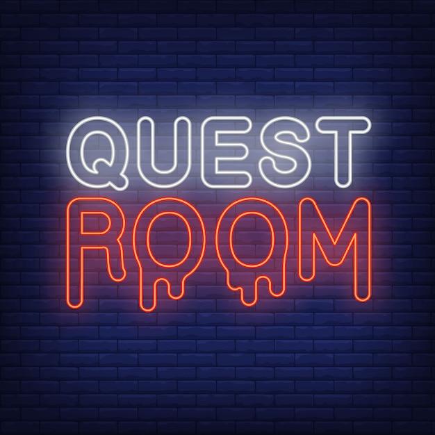 Insegna al neon della stanza delle quest. lettere sanguinanti sul muro di mattoni. elementi di banner o cartelloni luminosi. Vettore gratuito