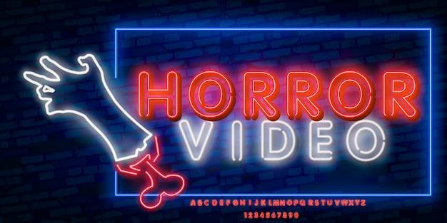 Insegna al neon di film horror, insegna luminosa, insegna leggera. Vettore Premium
