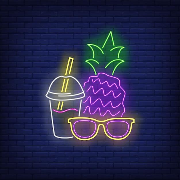 Insegna al neon di occhiali da sole, ananas e cocktail Vettore gratuito