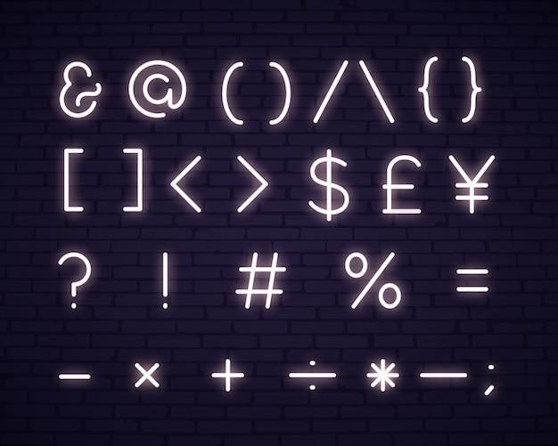 Insegna al neon di simboli del testo bianco Vettore gratuito