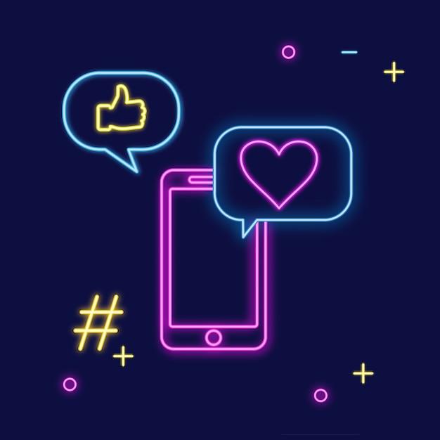 Insegna al neon di social media per chattare Vettore Premium