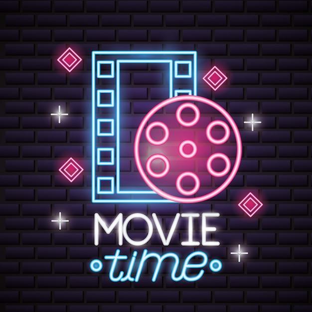 Insegna al neon di tempo di film Vettore gratuito