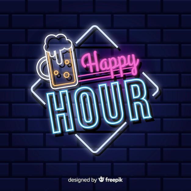 Insegna al neon happy hour Vettore gratuito