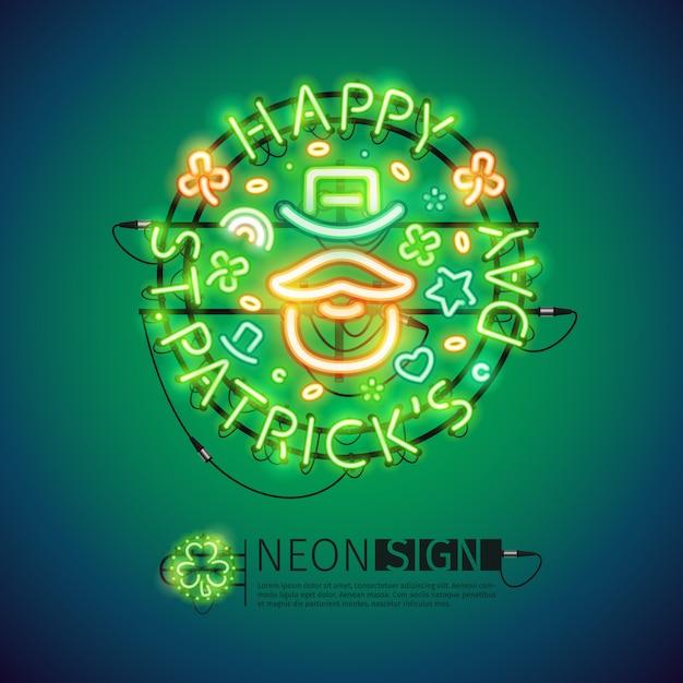 Insegna al neon irlandese di st patricks day Vettore Premium