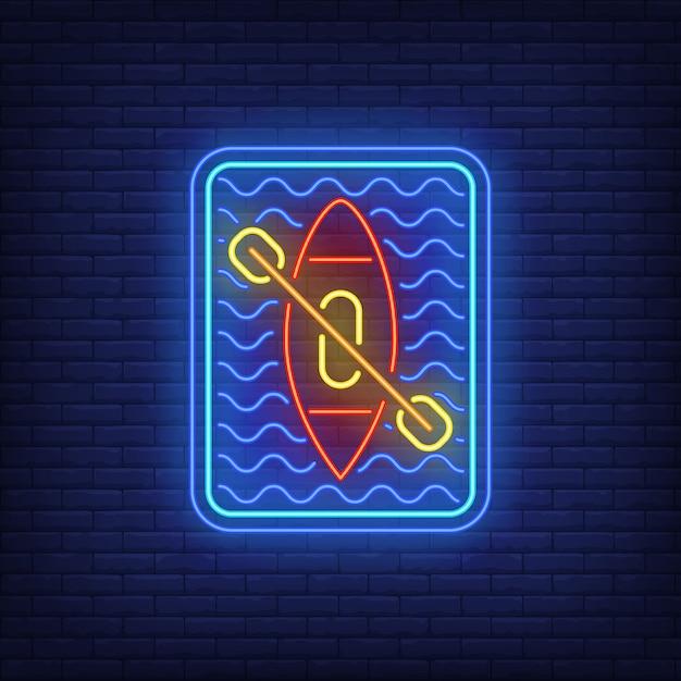 Insegna al neon kayaking Vettore gratuito
