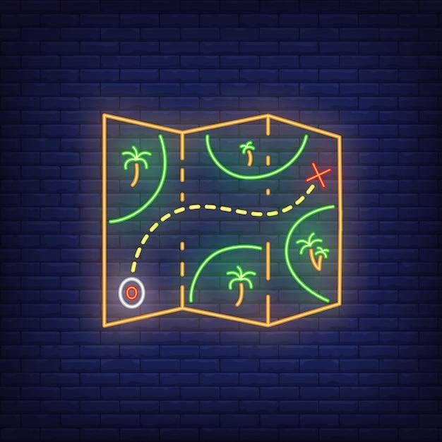 Insegna al neon. mappa cartacea con palme e percorso. elementi di banner o cartelloni luminosi Vettore gratuito