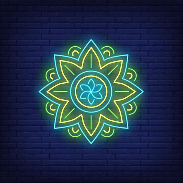 Insegna al neon rotonda del modello della mandala. meditazione, spiritualità, yoga. Vettore gratuito