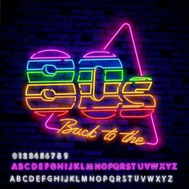 Insegna al neon stile anni '80 Vettore Premium