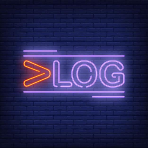 Insegna al neon vlog. testo luminoso creativo con la prima lettera rossa. pubblicità luminosa di notte. Vettore gratuito