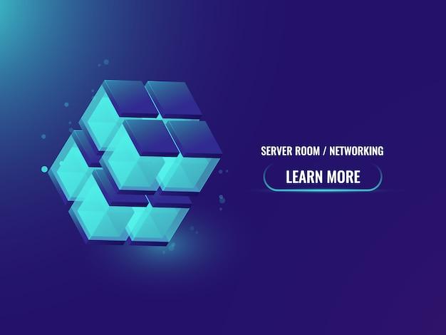 Insegna astratta di tecnologia di concetto di cryptocurrency e blockchain isometrica Vettore gratuito