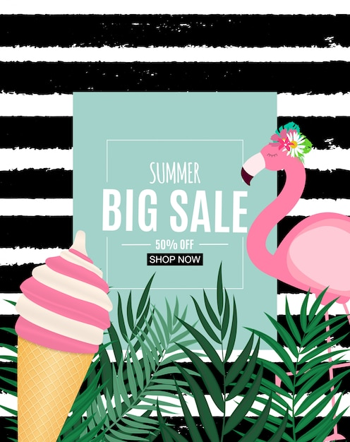 Insegna astratta di vendita di estate con le foglie di palma e il fenicottero. illustrazione vettoriale Vettore Premium