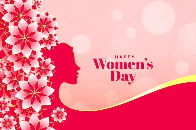 Insegna attraente del fiore del giorno delle donne felici Vettore gratuito