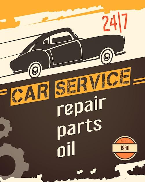 Insegna automatica d'annata originale del garage di servizio da vendere con la retro illustrazione di vettore dell'estratto della siluetta del nero dell'automobile Vettore gratuito