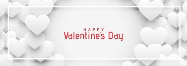 Insegna bianca dei cuori 3d per il giorno di biglietti di s. valentino Vettore gratuito