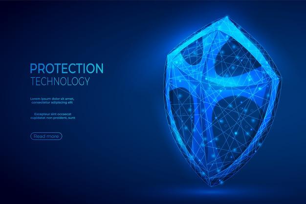 Insegna blu astratta poligonale dello scudo. Vettore Premium