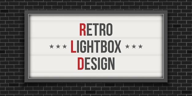 Insegna cinematografica luminosa, teatro lightbox retrò. Vettore Premium