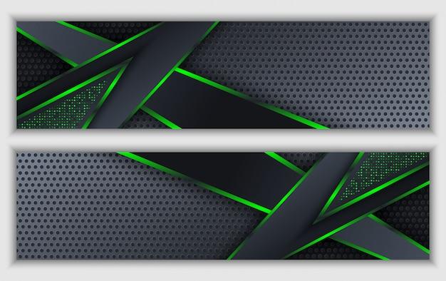 Insegna corporativa astratta verde nera con fondo di tecnologia di scintillio al neon incandescente Vettore Premium
