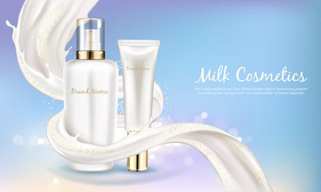 Insegna cosmetica di vettore con bottiglia bianca realistica per crema per la cura della pelle o lozione per il corpo. Vettore gratuito