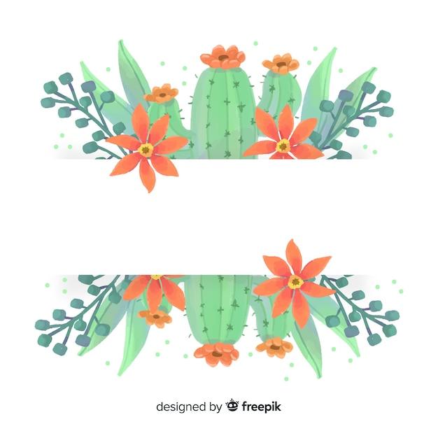 Insegna del cactus dell'acquerello con la bandiera in bianco Vettore gratuito