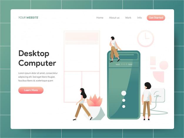 Insegna del desktop computer del concetto della pagina di atterraggio Vettore Premium