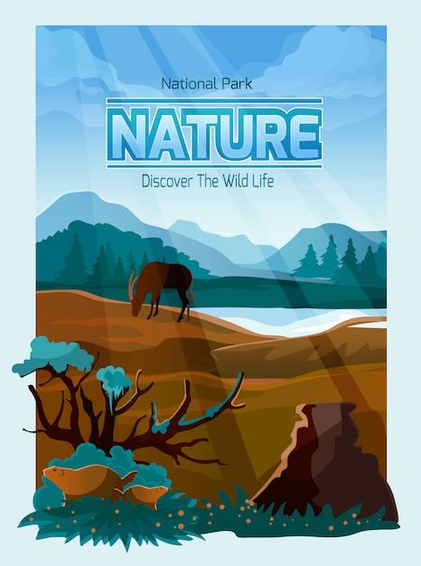 Insegna del fondo della natura del parco nazionale Vettore gratuito