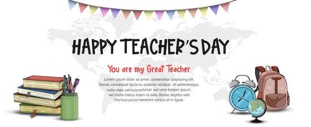 Insegna del giorno dell'insegnante felice Vettore Premium