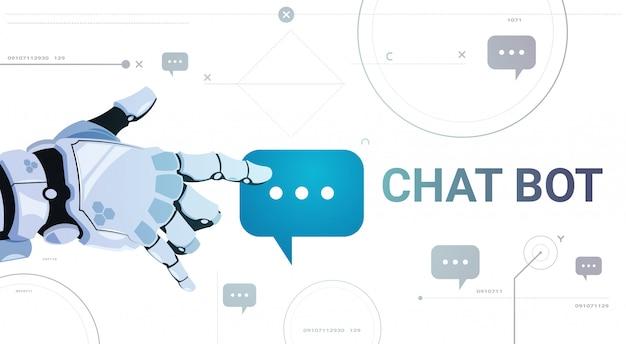 Insegna del modello della bolla di chiacchierata di tocco della mano del robot di concetto di app di servizio di chiacchierata insegna con lo spazio della copia, concetto di tecnologia di sostegno tecnico di chatterbot Vettore Premium