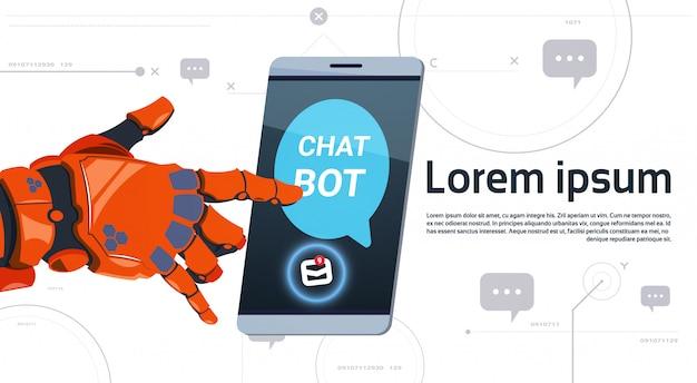 Insegna del modello dello smart phone di tocco della mano del robot di concetto di app di servizio del robot di chiacchierata con lo spazio della copia, concetto di tecnologia di sostegno tecnico di chatterbot Vettore Premium