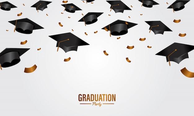 Insegna del partito di graduazione di concetto di istruzione con il cappuccio Vettore Premium