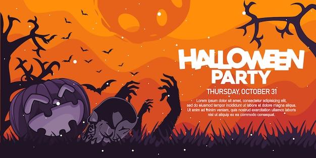 Insegna del partito di halloween con l'illustrazione del cranio e della zucca Vettore Premium