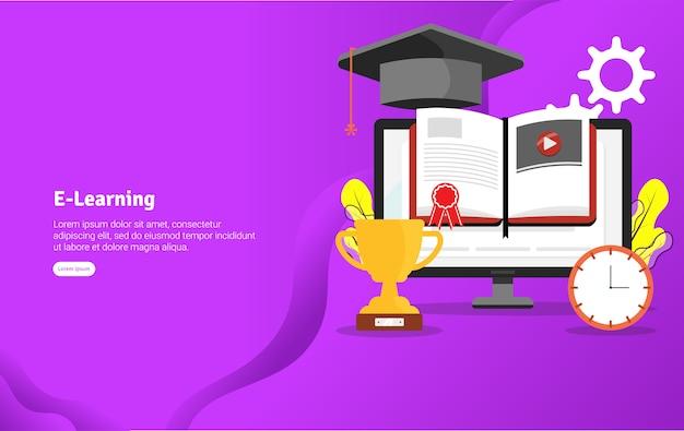 Insegna dell'illustrazione di concetto di e-learning Vettore Premium