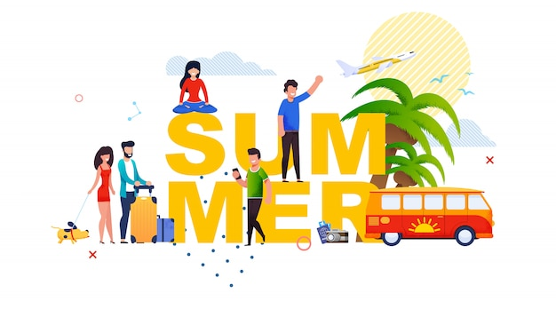Insegna dell'iscrizione di estate con la piccola gente del fumetto. Vettore Premium