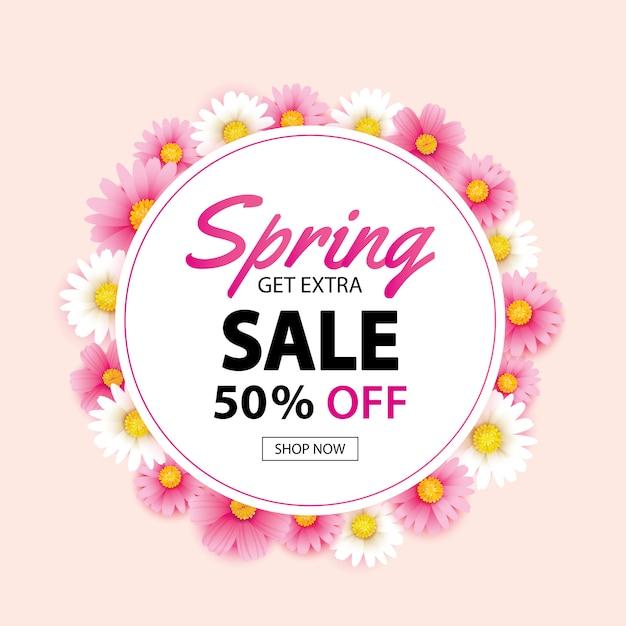 Insegna della corona del cerchio di vendita della primavera con il fondo dei fiori Vettore Premium