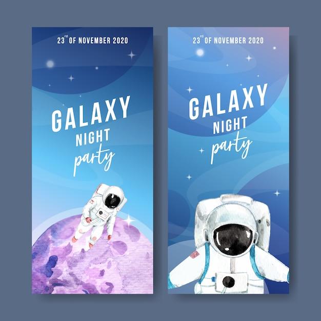 Insegna della galassia con l'astronauta, illustrazione dell'acquerello del pianeta. Vettore gratuito