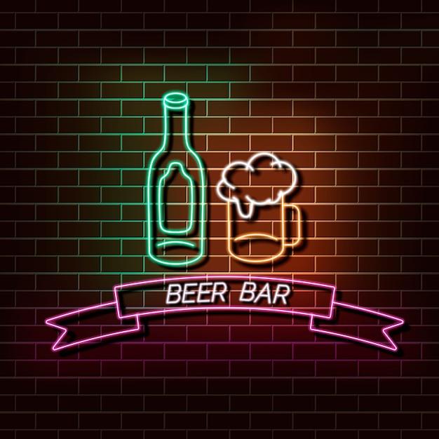 Insegna della luce al neon della barra della birra su un muro di mattoni Vettore Premium