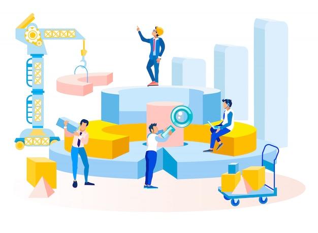 Insegna della metafora di elaborazione dei dati del flusso di lavoro di affari Vettore Premium