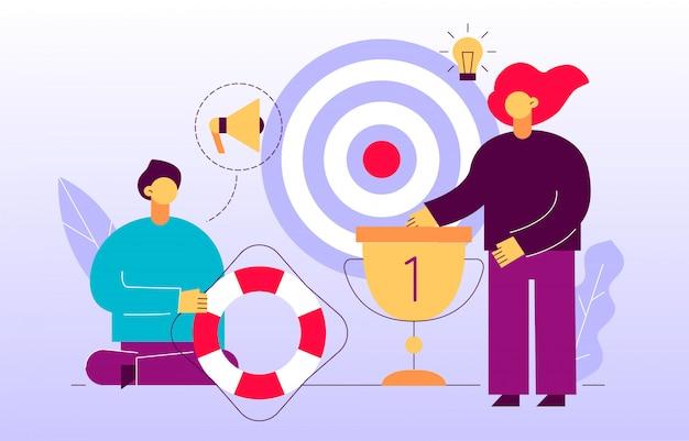 Insegna della pagina web di pubblicità e strategia di marketing vettoriale Vettore Premium