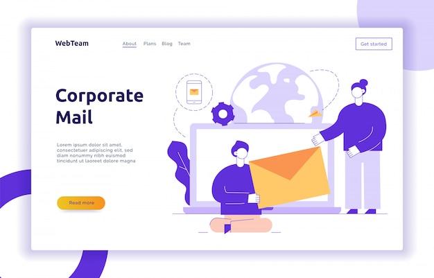 Insegna della pagina web di vettore e di strategia aziendale di vettore Vettore Premium