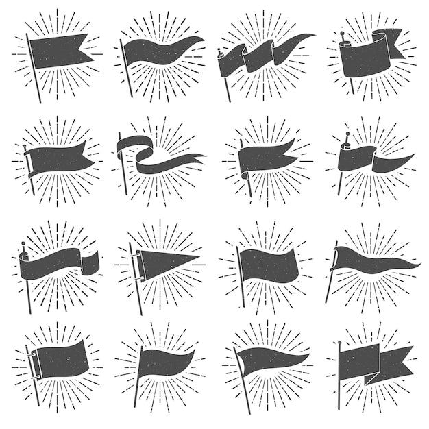 Insegna della siluetta della bandiera, bandiere scoppiate stella d'annata, segni strappati delle insegne e insieme isolato retro stendardo di lerciume Vettore Premium