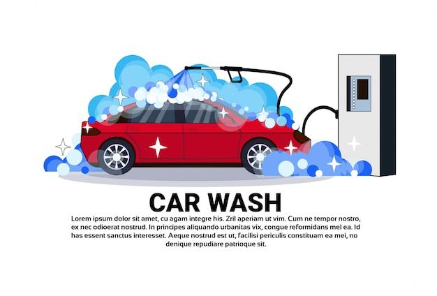 Insegna della stazione dell'autolavaggio con il veicolo di pulizia di servizio Vettore Premium