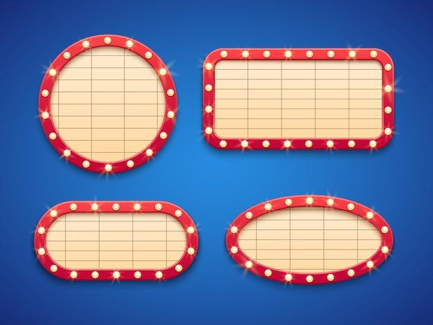 Insegna della tenda foranea delle luci del cinema o del retro teatro. Vettore Premium