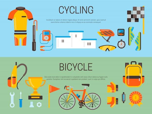 Insegna di bicicletta e accessori sportivi bandiera di vettore. attività in bicicletta, attrezzatura da ciclismo e accessori sportivi. Vettore Premium