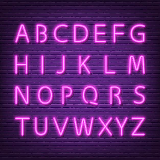 Insegna di carattere alfabeto al neon Vettore Premium
