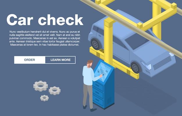 Insegna di concetto dell'assegno di servizio dell'automobile, stile isometrico Vettore Premium