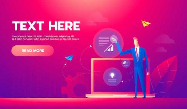 Insegna di concetto di analisi commerciale con caratteri Vettore Premium