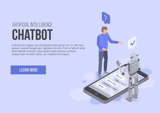 Insegna di concetto di chatbot di intelligenza artificiale, stile isometrico Vettore Premium