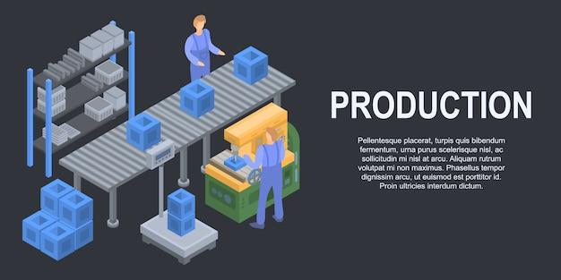 Insegna di concetto di produzione di linea a scatola, stile isometrico Vettore Premium